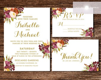 Beautiful Watercolor Wedding Set, Marsala Wedding Invite, Burgundy Invite, Printable Invite, Watercolor Flower, Elegant, jadorepaperie