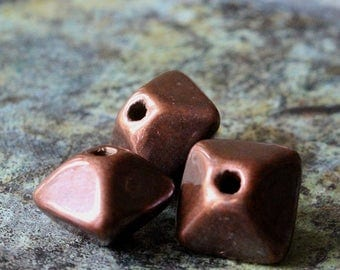 Mykonos Beads - 12mm Oxyhedron Beads - Antique Bronze Beads - Jewelry Making Supply - Pyramid Beads - Large Hole Bicone - Choose Amount