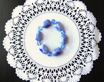 Blue beaded glass ceramic round adjustable bracelet stretch fit gift for her Christmas
