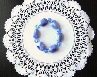 Elastic bracelet, Blue bracelet, beaded bracelet, adjustable bracelet, ceramic bracelet, glass bead bracelet, gift for her, mothers day