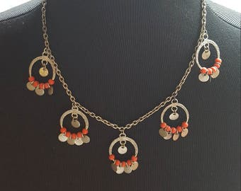 Pretty Vintage Silver and Red Necklace