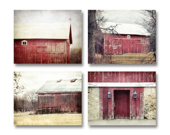 Barn Art, Red Barn Prints Set of 4, Red Barn Photography, Old Red Barns Farm Landscapes, Rustic Barn Prints Country Red Barns Set of 4 Barns