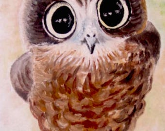 "Original oil painting of adorable baby owl, on 8X10"" canvas board."