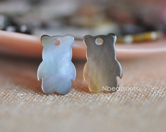 10pcs Black Mother of Pearl Shell Kawaii Bear Charms 15mm (#V1264)