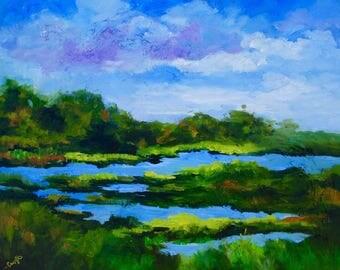Palette Knife Modern Impressionist Original Oil Painting Kiawah Island Marsh Landscape by Rebecca Croft