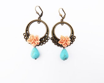 Peach and Turquoise Tear Drop Earrings