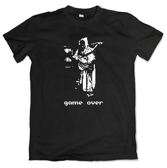 Game Over T-Shirt. Retro 8-Bit Death Tee. Pixel Video Game Shirt.