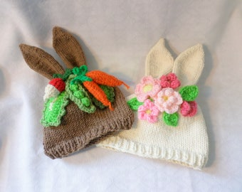Bunny Ears Infant Hat Hand Knit