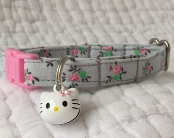 Shabby Chic Cat Collar with floral snd cat bell charm Cat  Breakaway Collar Custom Made