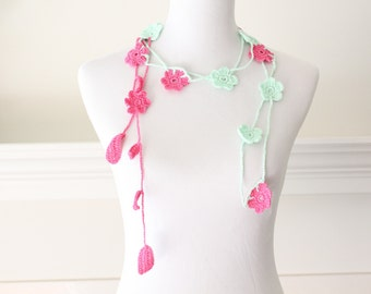 Crochet Mint Green Hot Pink Lariat, Necklace, Scarf, Scarflette