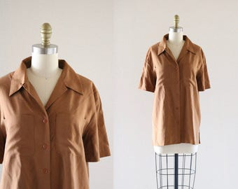 tawny silk button down