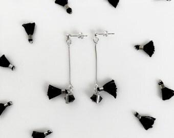 Black Onyx Earrings, Silver Chain Tassel Earrings, Minimalist Geometric Statement Earrings