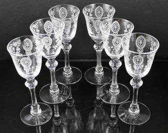 Set of 6, Tiffin June Night Etched Cordial Stems
