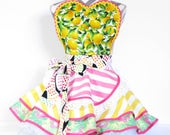 NEW Ready to Ship Pink Lemonade Candy Shop Apron with Lemons and Pink Flamingos