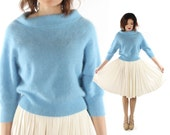 Vintage 80s 90s Angora Sweater Fuzzy Blue Wide Cowl Neck Cropped Top 1980s 1990s Pinup Rockabilly Preppy Medium M