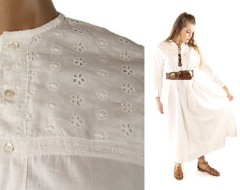 Vintage Antique Nightgown White Cotton Embroidered Anglaise Eyelet Lace Long 1900's Maxi Dress Hippie Boho Festival Fashion