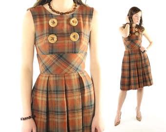 Vintage 60s Plaid Dress Schoolgirl Rust Wool Big Buttons Pleated Skirt Sleeveless Jumper 1960s Jo Juniors XS X Small