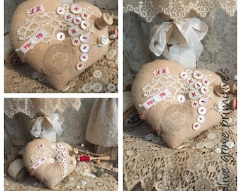 Rustic heart shape pin cushion french lace mother of pearl buttons tiny wooden spool Olive Grove Primitives