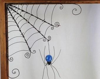 """18""""  Barbed Wire Corner Spider Web With Blue Spider"""