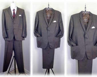 MOD Vintage 1960's Brown-Gold Sharkskin Suit - 2 Button Jacket and Cuffed Skinny Pants  Sz 40  Mad Men  Hawaii 5-0