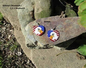 Native American Indian Style Beaded Earrings - Beaded Heart With Bald Eagle and American Flag Earrings