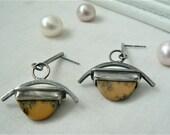 Oxidized Sterling silver Earrings with Dendritic Opal Gemstones - Dangle Earrings 925