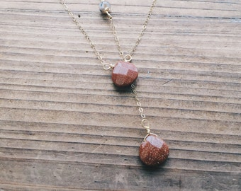 Sunstone Necklace // Goldstone // Southwest Lariat // Gemstone // 14k Gold // Dendritic Agate //Summer Bride // Bohemian Bride // Layered
