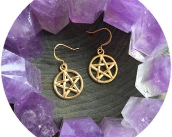 Small Pentacle earrings, wiccan jewelry, gold tone, (leave listing qty as 1)