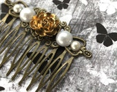 Golden Rose and Pearl hair comb (Vina design) vintage fashion bronze wedding bridal hair jewelry,boho chic comb,elegant gothic lolita