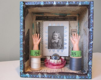 Mixed media shadow box, 3D art, assemblage art, found objects