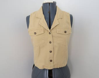 Vintage 90s Short Yellow Jean Vest by EXP - Womens Bust 33