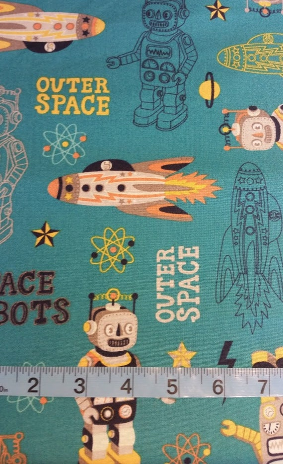 Outer space and space robot on dark teal fabric 100 cotton for Outer space fabric by the yard
