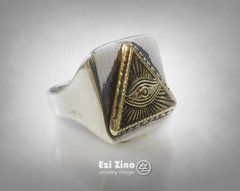 new sterling silver 925 MASONIC ANNUIT COEPTIS ring by Ezi Zino