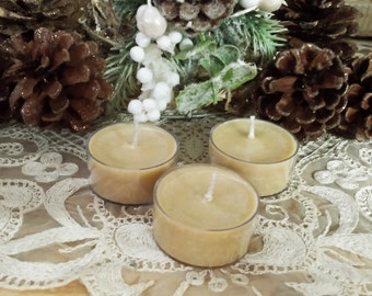 4 Hazelnut Yule Tea Lights, Christmas Tealights, Christmas Tea Lights, Yule Candles