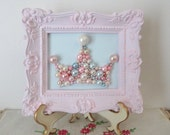 Pink Princess Crown - Soft Blue Pearl Crown - Bead Mosaic - Ornate Framed Nursery Art - Shabby Cottage Chic 3d Original Art - Sorority Tiara