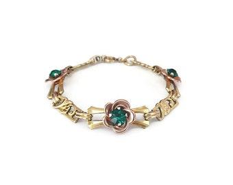 Harry Iskin Gold Filled Green Rhinestone Bracelet - 12K Gold Filled, Floral Flowers, Emerald Green, Vintage Bracelet, Vintage Jewelry