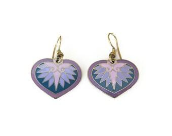 Laurel Burch Heart Shape Enamel Earrings - Gold Tone, Purple Lavender, Dangle Earrings, Vintage Earrings