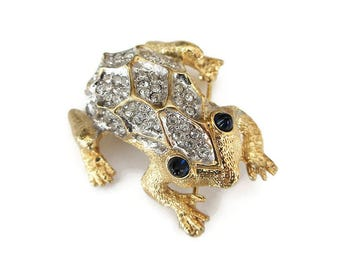 Weinberg New York Rhinestone Frog Brooch - Pave Rhinestones, Gold Tone, Blue Glass, Frog Pin, Vintage Brooch, Vintage Jewelry