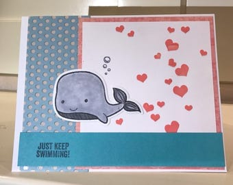 Just keep swimming encouragement little whale card