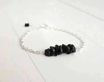 Chain bracelet black stone bracelet minimalist bracelet for women layering bracelet
