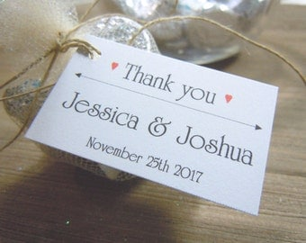 Thank You Wedding Favor Tags Personalized with the Bride and Groom Names Wedding Date