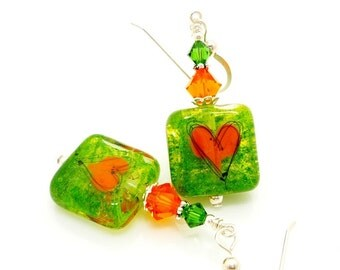 Green Earrings, Heart Earrings, Lampwork Earrings, Heart Jewelry, Glass Bead Earrings, Glass Earrings, Valentine Earrings, Tile Earrings