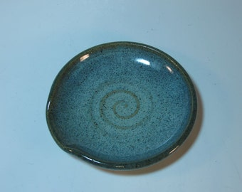 Blue Speckled Stoneware Spoon Rest