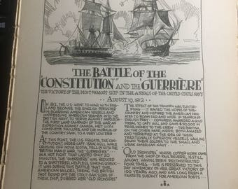 Battle of the Constitution and the Guerriere Unites States Navy 1812 1933 book page history print illustration . Art frameable history