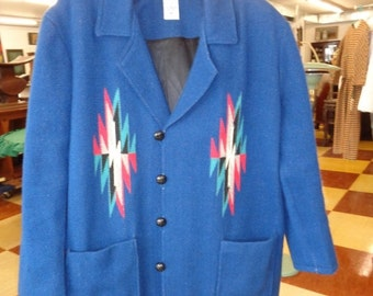 HOLIDAY SALE Vintage 1950's Ortega MENS Chimayo Jacket Royal Blue Size xxL