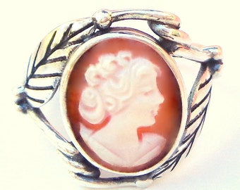 Vintage Cameo, New Sterling Silver Ring, Size Adjustable, Hand Carved Cameo, Italian Cameo, Carved Conch Shell Cameo,OOAK