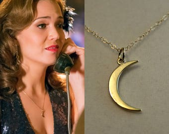 This Is Us Moon Necklace,  Mandy Moore Moon Necklace, Gold Crescent Moon, 14 15 16 17 18 inch, 14K Gold Fill, Rose Gold, or Sterling Silver