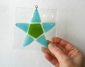 star - fused glass star - glass gift - thank you gift - fused glass art - glass star - star lover - glass art - green - blue - glass lover