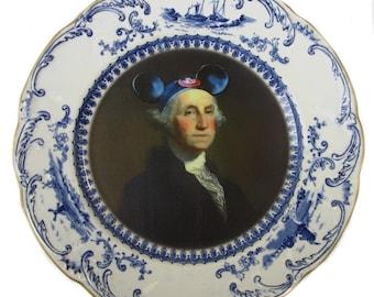 "SALE - Damaged - Mouseketeer Washington Portrait Plate 8.8"""
