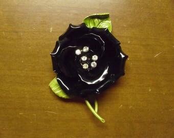 Vintage 1960's  Enamel Flower Brooch